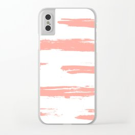 Pretty Pink Brush Stripes Horizontal Clear iPhone Case