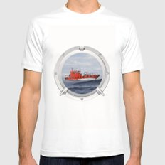 Port Hole View MEDIUM Mens Fitted Tee White