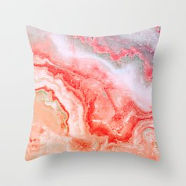 Luxury LIVING CORAL Agate Marble Geode Gem Throw Pillow