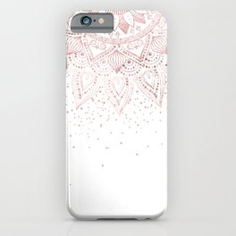 Elegant rose gold mandala confetti design iPhone Case