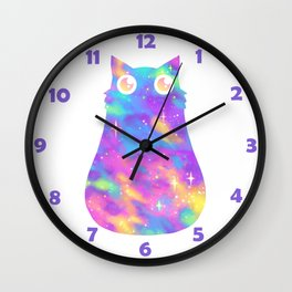 Pastel Galaxy Cat Wall Clock