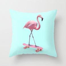 SKATE FLAMINGO Throw Pillow