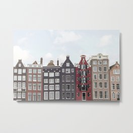 Typical Houses Of Amsterdam Picture   Dutch Urban City Architecture Art Print   Europe Travel Photography Metal Print