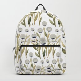 Simple watercolor flowers - olive and gray Backpack