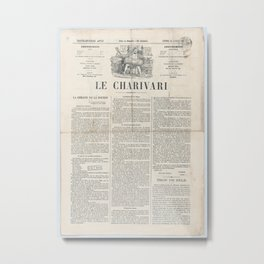 Le Charivari newspaper, April 12, 1869 Will he be God, a table, or a basin, from 'News of the day,Ap Metal Print