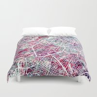brussels Duvet Covers featuring Brussels Map by MapMapMaps.Watercolors