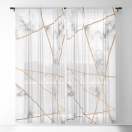 White, Gray, Gold Marble Geometric Pattern Sheer Curtain