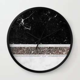 Black and White Marble Silver Glitter Stripe Glam #1 #minimal #decor #art #society6 Wall Clock