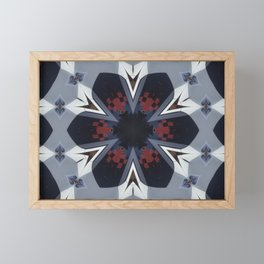 White and Blue Checkered Flower Pattern Framed Mini Art Print