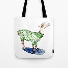 Llama in a Green Deer Sweater Tote Bag