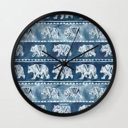 BEAR SPIRIT Indigo Watercolor California Bears Pattern Wall Clock