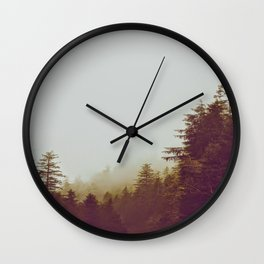 Olive Green Sepia Misty Pine Forest Landscape Photography Parallax Trees Wall Clock