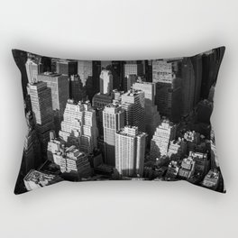 Tall buildings and skyscrapers with shadows of each other in the evening Rectangular Pillow