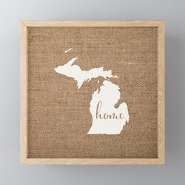 Michigan is Home - White on Burlap Framed Mini Art Print