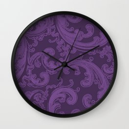 Retro Chic Swirl Royal Lilac Wall Clock