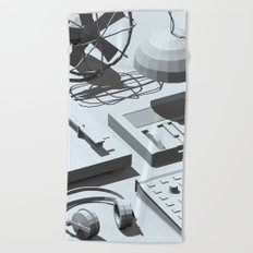 Low Poly Studio Objects 3D Illustration Grey Beach Towel