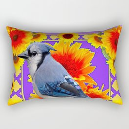 YELLOW SUNFLOWERS & BLUE JAY PURPLE ART Rectangular Pillow