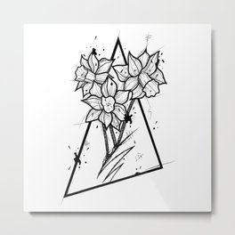 Narcissus Handmade Drawing, Made in pencil and ink, Tattoo Sketch, Tattoo Flash, Blackwork Metal Print