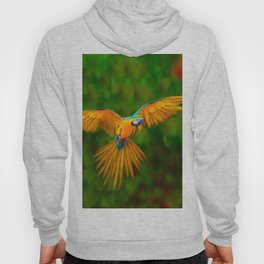 Flying Golden Blue Macaw Parrot Green  Art Hoody
