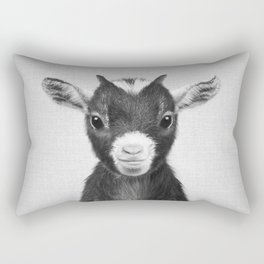 Baby Goat - Black & White Rectangular Pillow