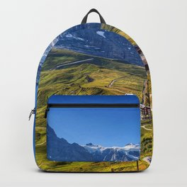 Alps mountain landscape summer mountains Grindelwald Switzerland Backpack