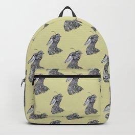 Shoebill dinosaur bird ink drawing yellow mustard Backpack