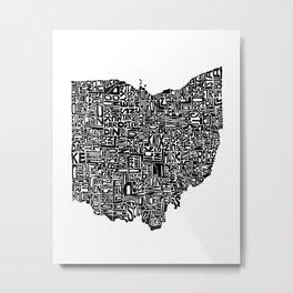 Typographic Ohio Metal Print