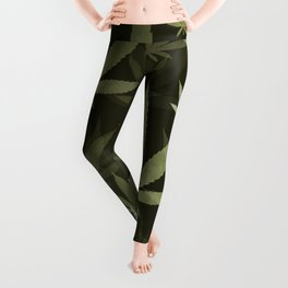 Marijuana Cannabis Weed Pot Leaves Leggings