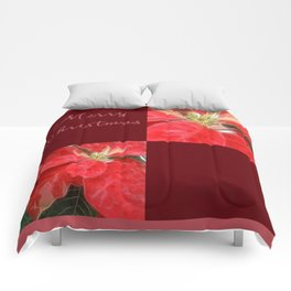 Mottled Red Poinsettia 1 Ephemeral Merry Christmas Q10F1 Comforters
