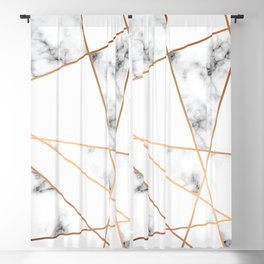 White, Gray, Gold Marble Geometric Pattern Blackout Curtain