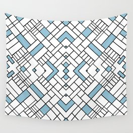 PS Grid 45 Sky Blue Wall Tapestry