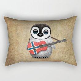 Baby Penguin Playing Norwegian Flag Acoustic Guitar Rectangular Pillow
