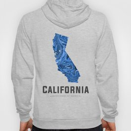 California - State Map Art - Abstract Map - Blue Hoody