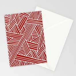 Abstract Navy Red & White Lines and Triangles Pattern Stationery Cards