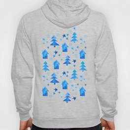 Vibrant red blue teal winter falling snow trees stars and houses pattern Hoody