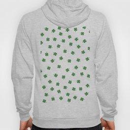 Green Shamrocks White Background Hoody