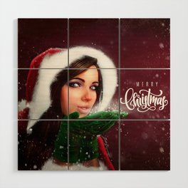 Lady Christmas Wood Wall Art