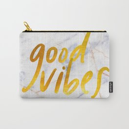 Good Vibes - Golden Lettering on Luxury Marble Carry-All Pouch