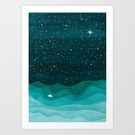 Starry Ocean, teal sailboat watercolor sea waves night Art Print