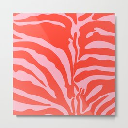 Pink And Red Zebra Pattern Metal Print