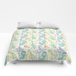 Watercolor Dinosaurs Hand Drawn Illustration Pattern Comforters