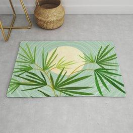 Summer Moon / Tropical Garden Illustration Rug