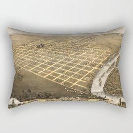 Bird's Eye View of Topeka, Kansas (1869) Rectangular Pillow