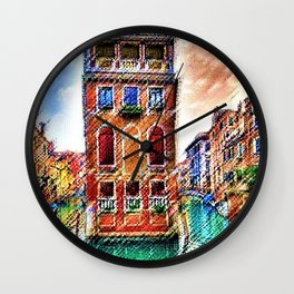 Canals of Venice, Italy Watercolor by Jéanpaul Ferro Wall Clock