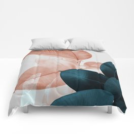 Blush & Blue Leaves Comforters