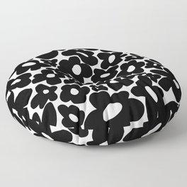 60s 70s Hippie Flowers Black Floor Pillow