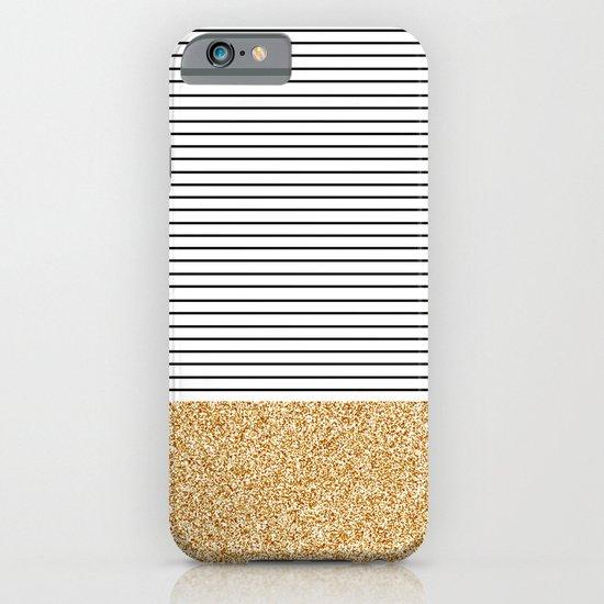 Minimal Gold Glitter Stripes iPhone & iPod Case