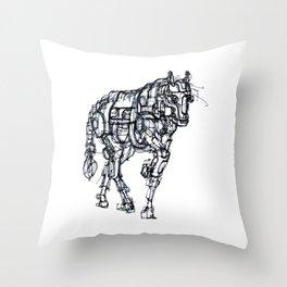 mechanical horse Throw Pillow