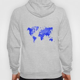 Blue watercolor world map Hoody
