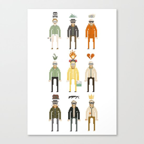 Walter White Pixelart Transformation- Breaking Bad Canvas Print